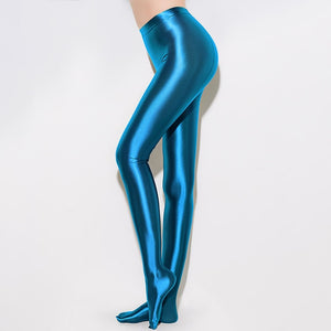 Turquoise opaque shiny pantyhose legging with elastic waist band and a high waisted silhouette
