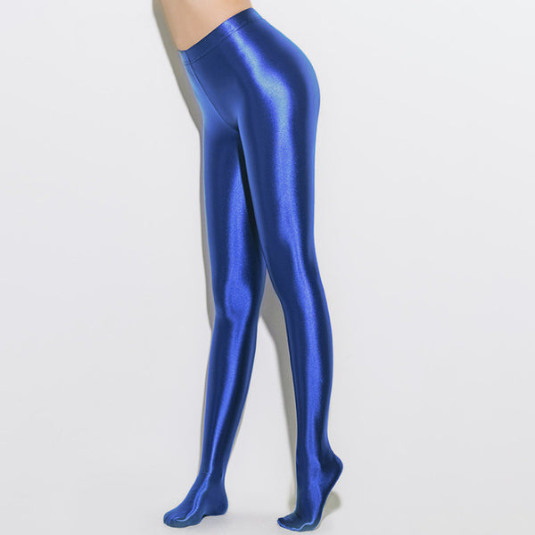 Light blue opaque shiny pantyhose legging with elastic waist band and a high waisted silhouette