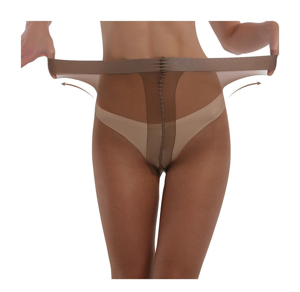 Coffee sheer pantyhose with elastic waistband
