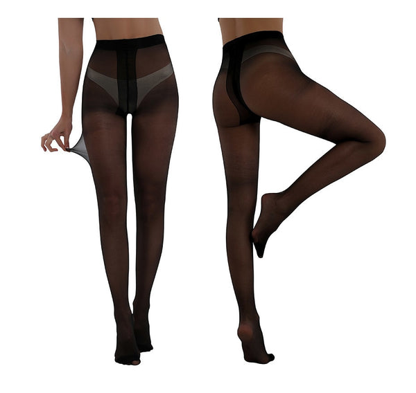 Black sheer pantyhose with elastic waistband