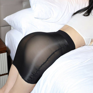 Seductive Oil Shine Sheer Mini Skirt
