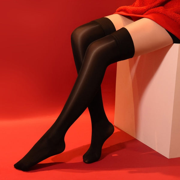 Black 8 denier sheer shiny thigh high stockings with solid leg band