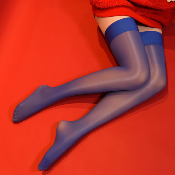 Blue 8 denier sheer shiny thigh high stockings with solid leg band