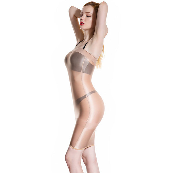 Skin sheer shiny tube dress