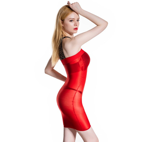 Red sheer shiny tube dress