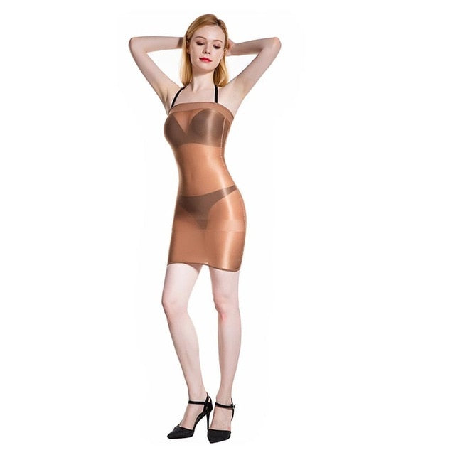 Coffee sheer shiny tube dress