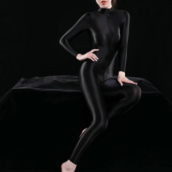black shiny bodysuit featuring a front zipper closure, long sleeves, and a high neckline.