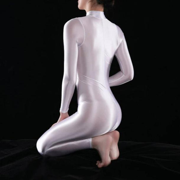 white shiny bodysuit featuring a front zipper closure, long sleeves, and a high neckline.