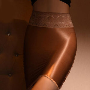 Brown sheer mini skirt featuring a lace waistband and sensual shiny nylon.