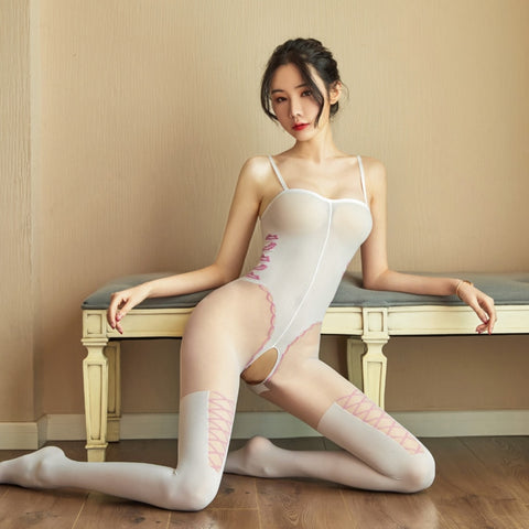 front view of lady wearing white bodystocking featuring spaghett straps, seductive lips silhouette on side panel, criss cross thigh high silhouette and an open crotch showing off her feet
