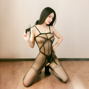 front view of lady wearing black bodystocking featuring a strappy bodice detailing, spaghetti straps and a open crotch.