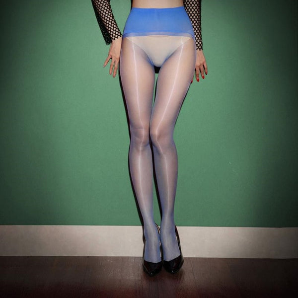 front view of lady wearing blue glossy sheer pantyhose with solid wide waist band with black high heels