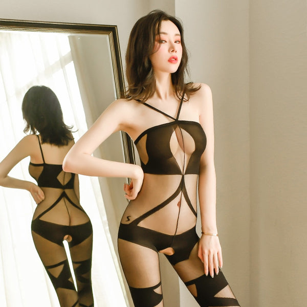 front view of lady wearing black sheer bodystocking featuring a halter neck, bust keyhole silhouette, criss cross thigh high detailing, a scoop back and an open crotch.
