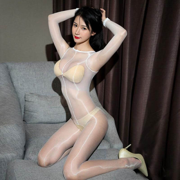 front view of lady wearing white shiny bodystocking featuring long sleeves, scoop neckline, choice of either closed crotch or open crotch wearing cream color high heel