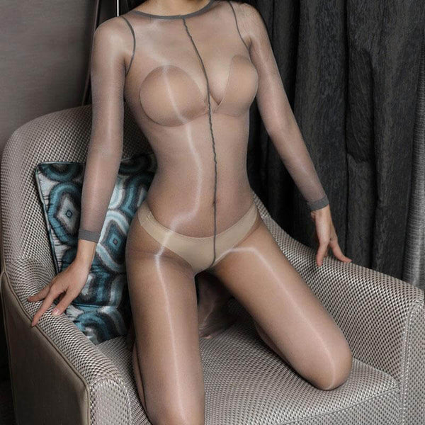 front view of lady wearing grey shiny bodystocking featuring long sleeves, scoop neckline, choice of either closed crotch or open crotch showing off her feet