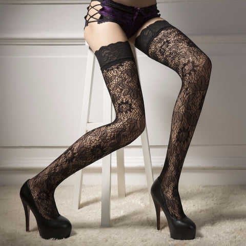 Black Floral Lace Top Sheer Thigh High Stocking