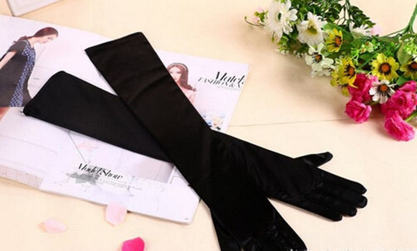Black Satin Shiny Long Gloves