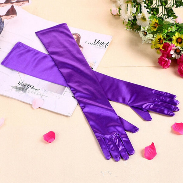 Purple Satin Shiny Long Gloves