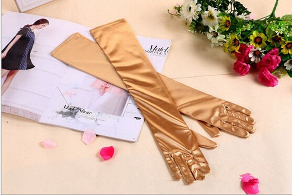 Gold Satin Shiny Long Gloves