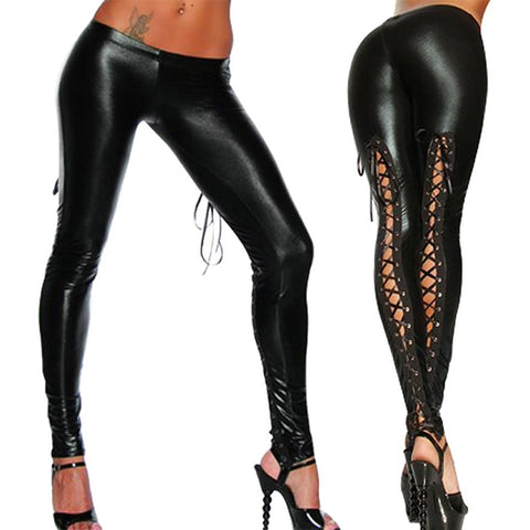 Black Latex Lace Up Wet Look Legging