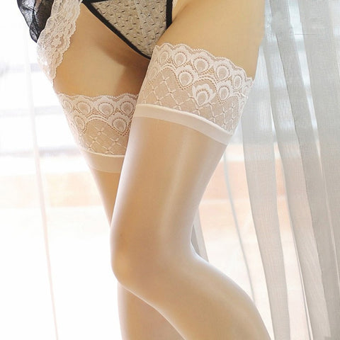 White Sheer Thigh High Oil Shine Glossy Stockings