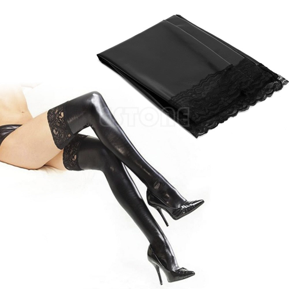 Black Lace Top Latex Shiny Thigh High Stockings