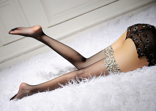 Leopard Print Leg Band Fishnet Thigh High Stocking