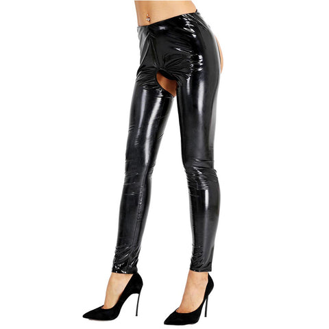 Black Wet Look Kinky Shiny Vinyl Legging