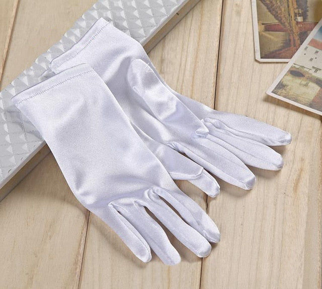 White Stretch Satin Shiny Sensual Gloves