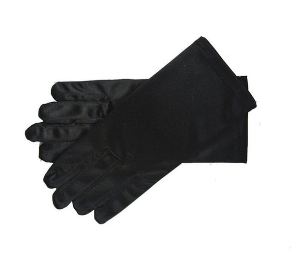 Black Stretch Satin Shiny Sensual Gloves