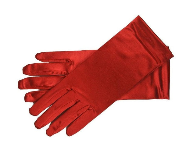 Red Stretch Satin Shiny Sensual Gloves