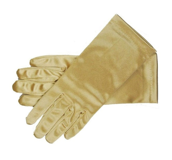 Gold Stretch Satin Shiny Sensual Gloves