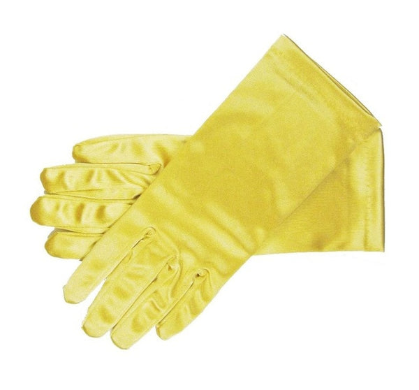 Yellow Stretch Satin Shiny Sensual Gloves