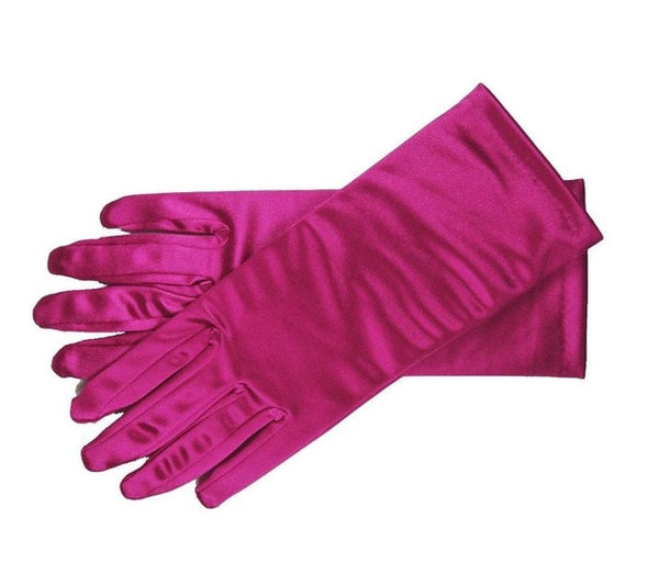 Rose Red Stretch Satin Shiny Sensual Gloves