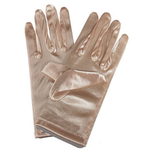 Champagne Stretch Satin Shiny Sensual Gloves