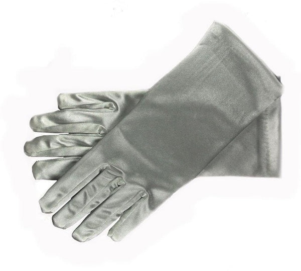 Grey Stretch Satin Shiny Sensual Gloves