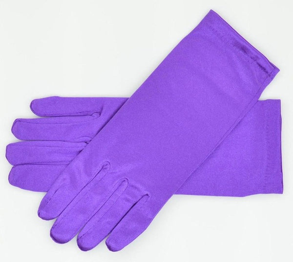 Purple Stretch Satin Shiny Sensual Gloves