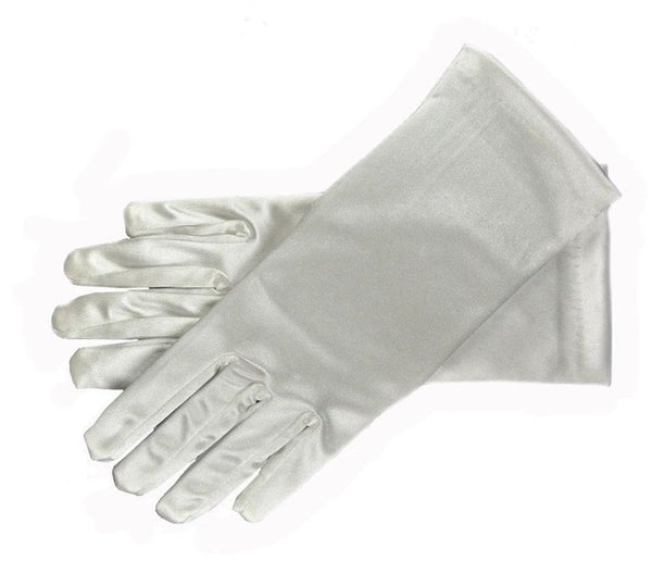 Light Grey Stretch Satin Shiny Sensual Gloves