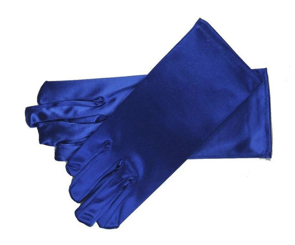 Blue Stretch Satin Shiny Sensual Gloves