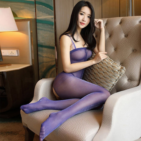 Purple Glittery Crotchless Bodystockings