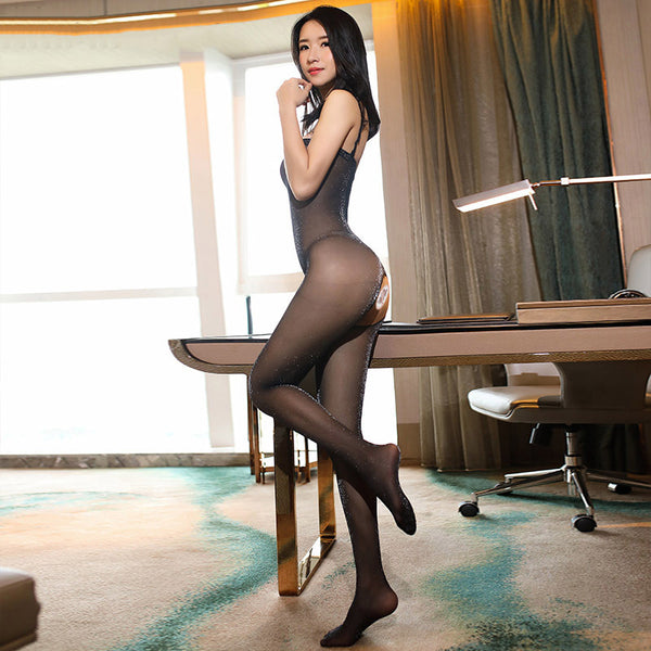 Black Glittery Crotchless Bodystockings