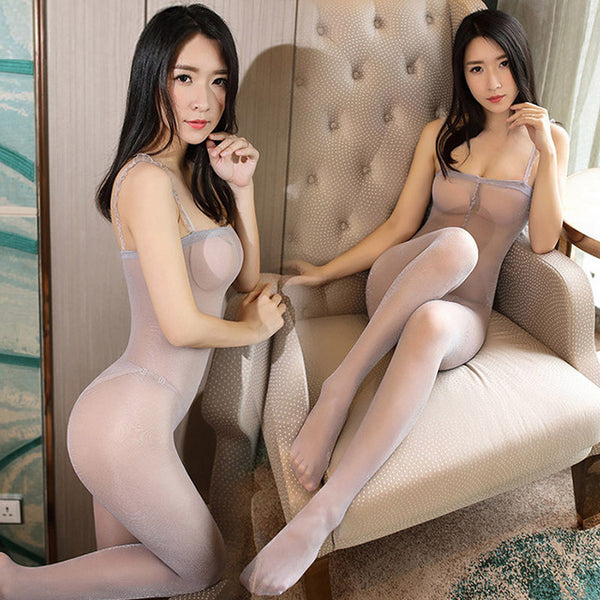 Gray Glittery Crotchless Bodystockings