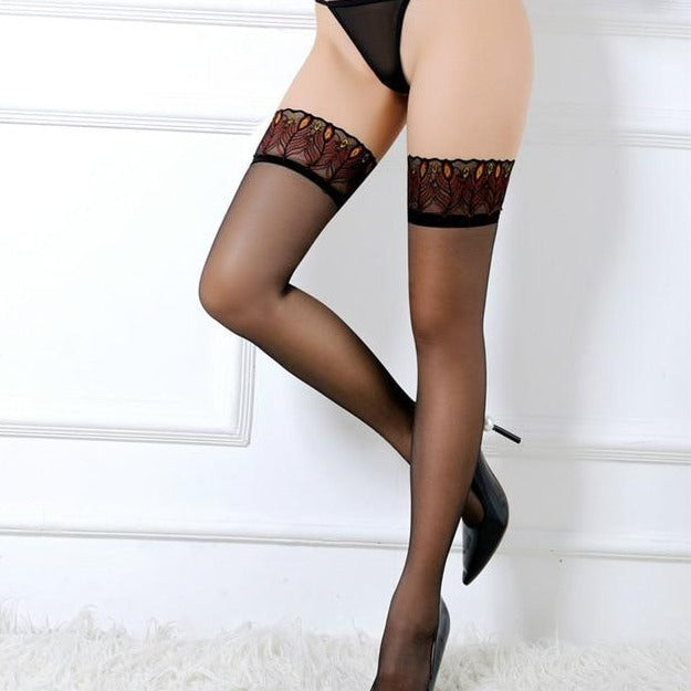 lady wearing sheer peacock top thigh high stockings with black back seam