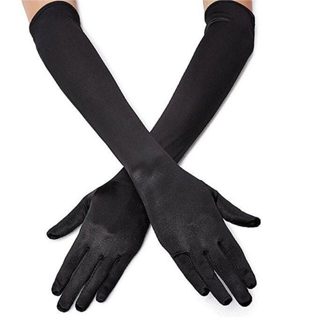 Black High Society Long Satin Gloves