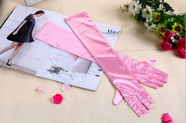 Pink Satin Shiny Long Gloves