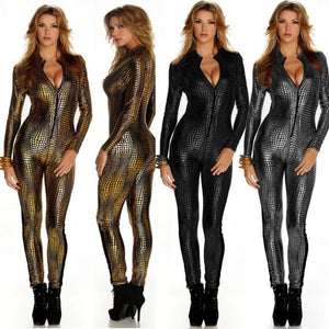 Unleashed the animal in you with this catsuit featuring a front zipper closure, scaled inspired design, long sleeve.