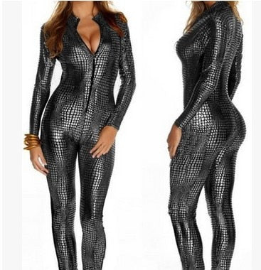 Silver Unleashed the animal in you with this catsuit featuring a front zipper closure, scaled inspired design, long sleeve.