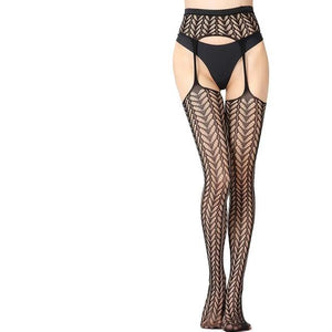 black thigh high stockings featuring a matching garter belt with attached garter straps.