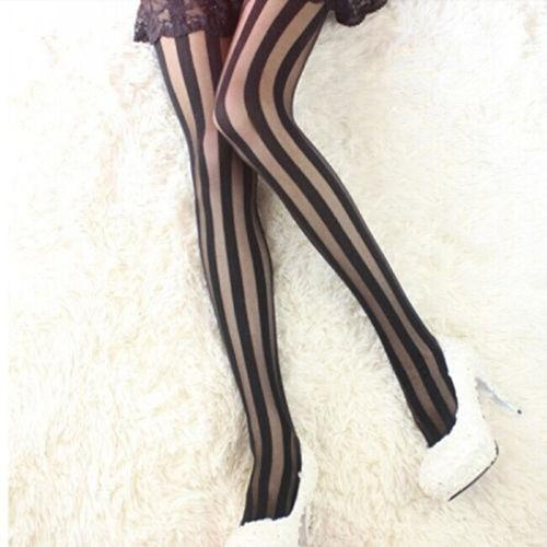 black pantyhose featuring black vertical stripes that eccentuate your curves.
