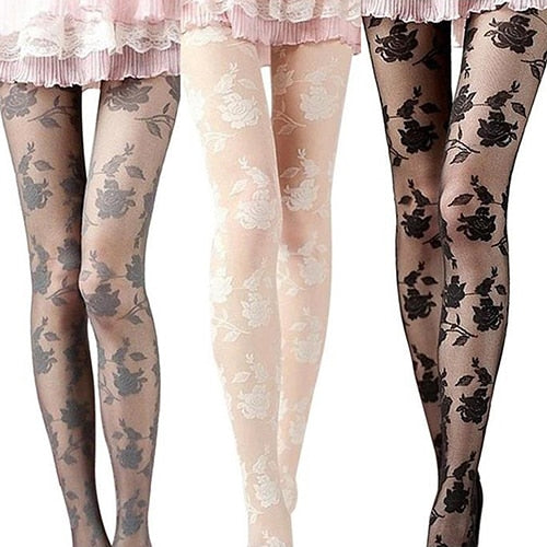 Rose Pattern Sheer Pantyhose